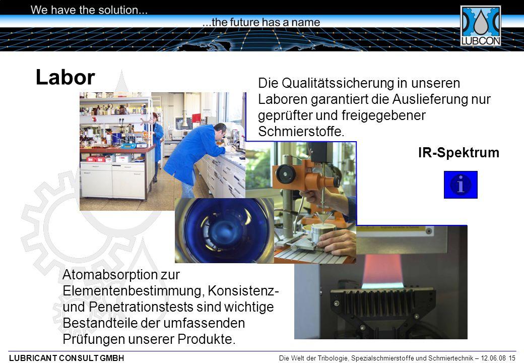 Labor Die Qualitätssicherung in unseren Laboren garantiert die Auslieferung nur geprüfter und freigegebener Schmierstoffe.