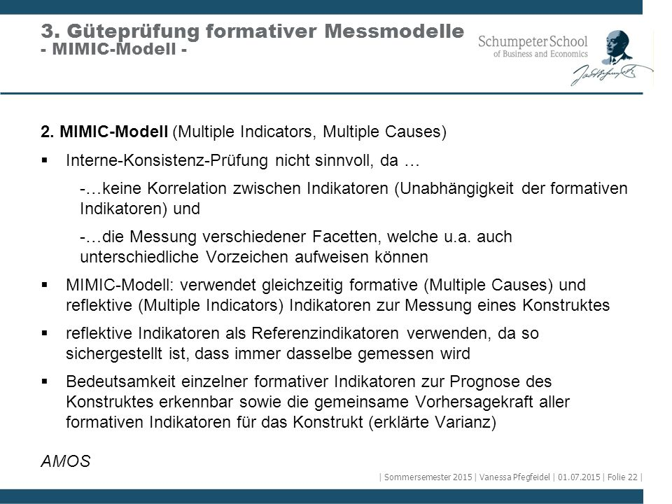 3. Güteprüfung formativer Messmodelle - MIMIC-Modell -