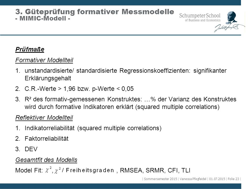 3. Güteprüfung formativer Messmodelle - MIMIC-Modell -