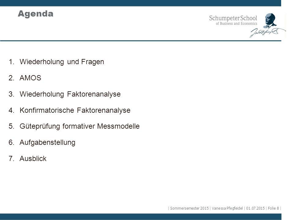 Agenda Wiederholung und Fragen AMOS Wiederholung Faktorenanalyse