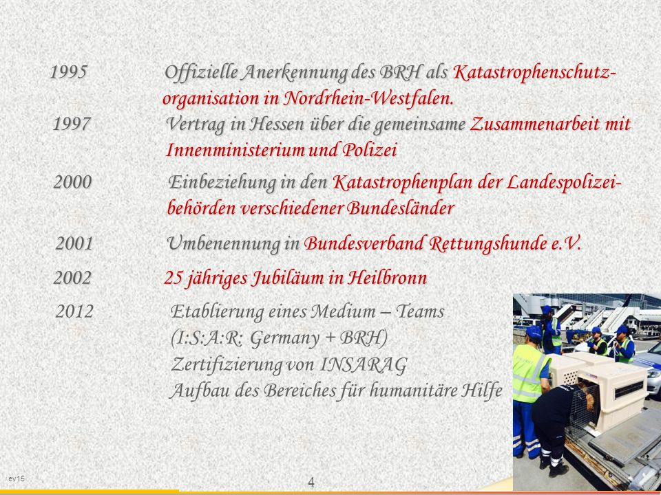 1995 Offizielle Anerkennung des BRH als Katastrophenschutz-