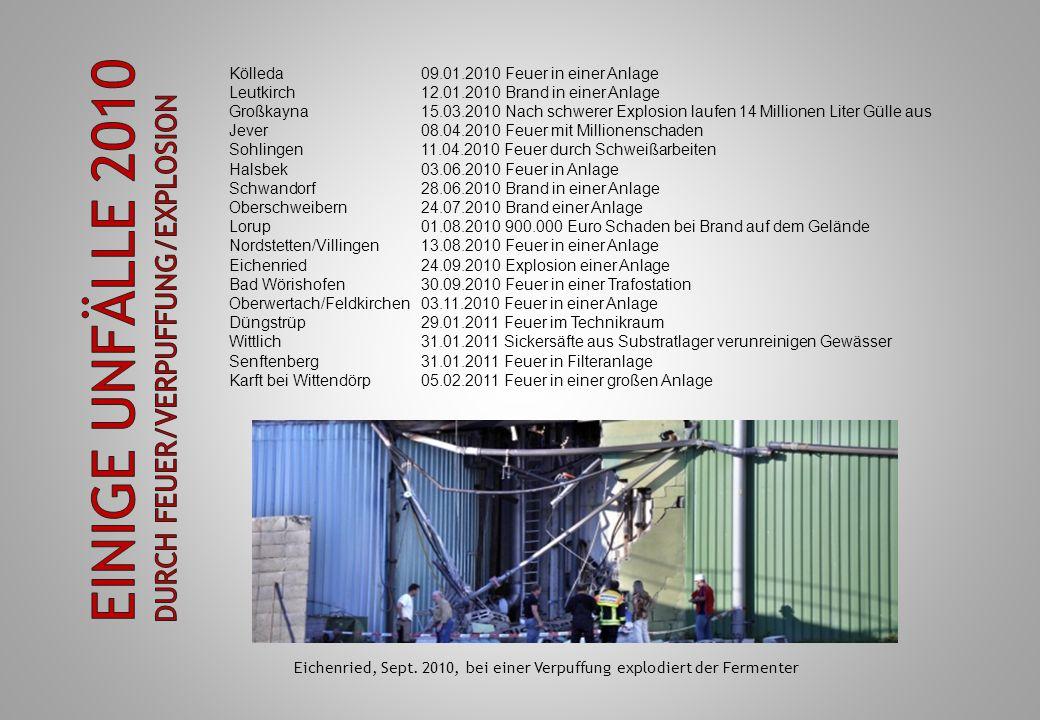 Einige Unfälle 2010 durch Feuer/Verpuffung/Explosion