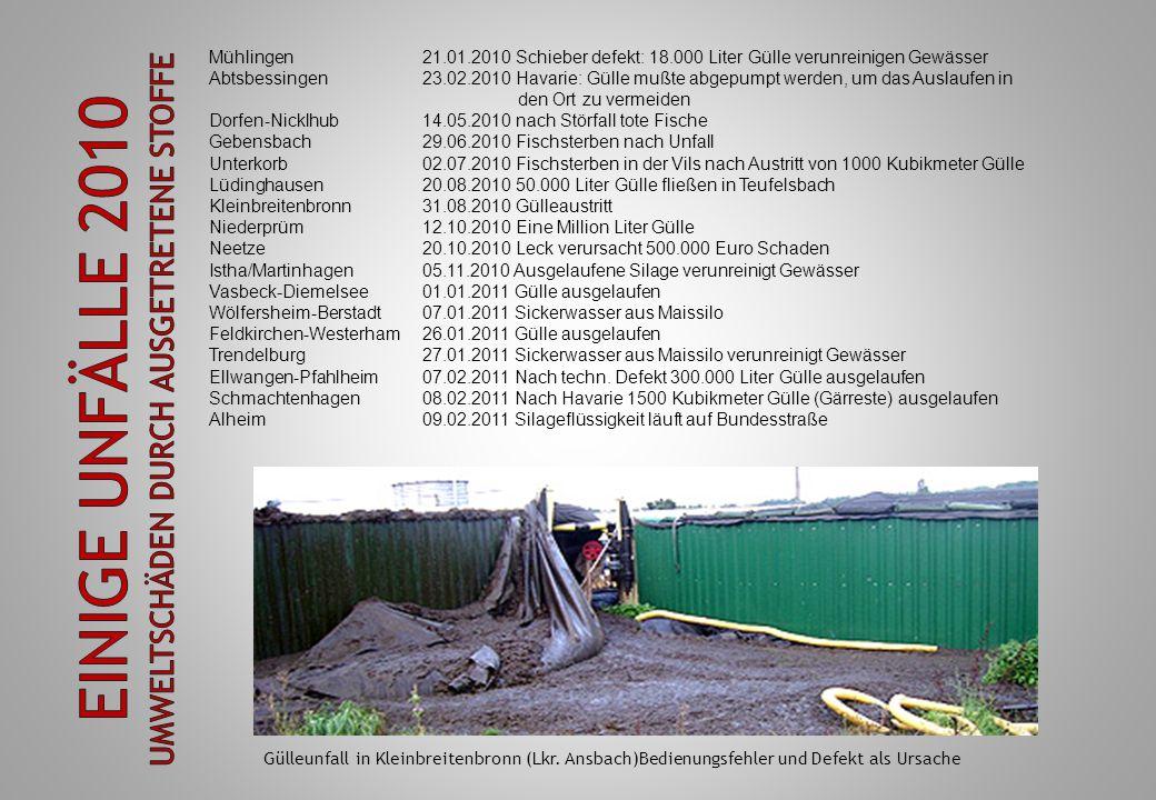 Einige Unfälle 2010 Umweltschäden durch ausgetretene Stoffe