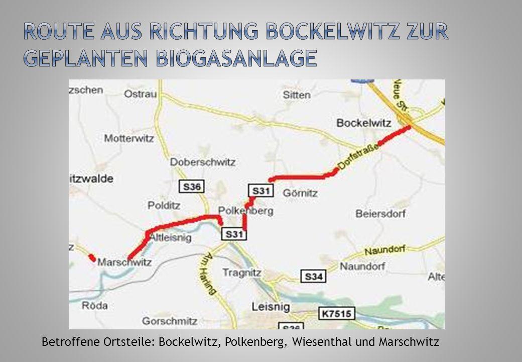 Route aus Richtung Bockelwitz zur geplanten Biogasanlage
