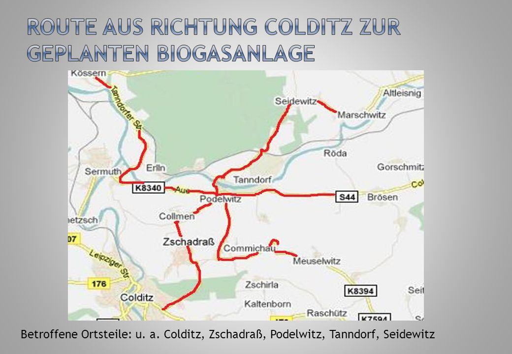 Route aus Richtung Colditz zur geplanten Biogasanlage