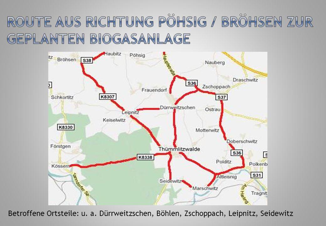 Route aus Richtung Pöhsig / Bröhsen zur geplanten Biogasanlage