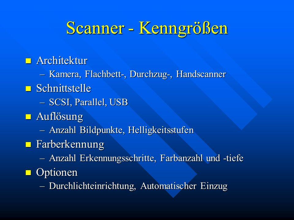 Scanner - Kenngrößen Architektur Schnittstelle Auflösung Farberkennung