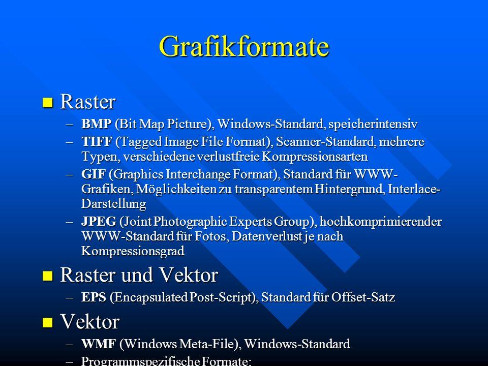Grafikformate Raster Raster und Vektor Vektor