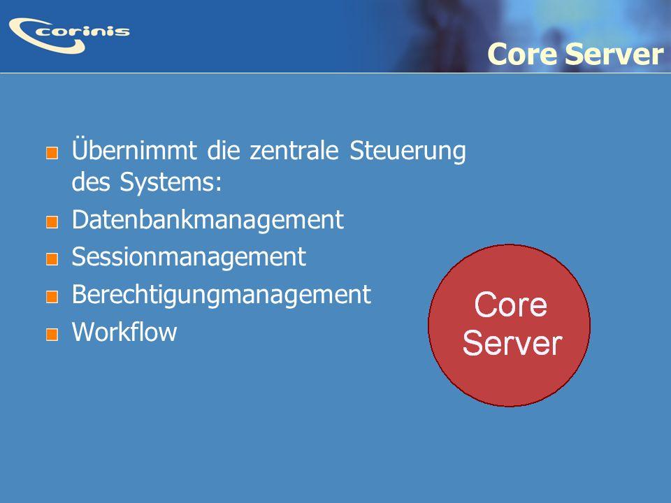 Core Server Übernimmt die zentrale Steuerung des Systems: