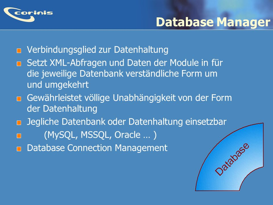 Database Manager Verbindungsglied zur Datenhaltung
