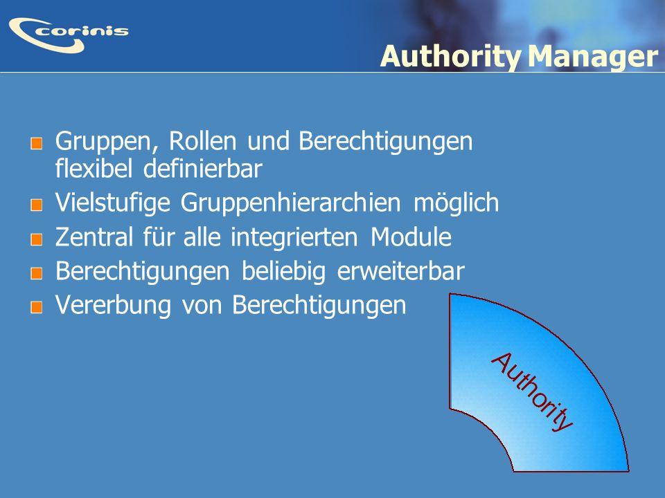 Authority Manager Gruppen, Rollen und Berechtigungen flexibel definierbar. Vielstufige Gruppenhierarchien möglich.
