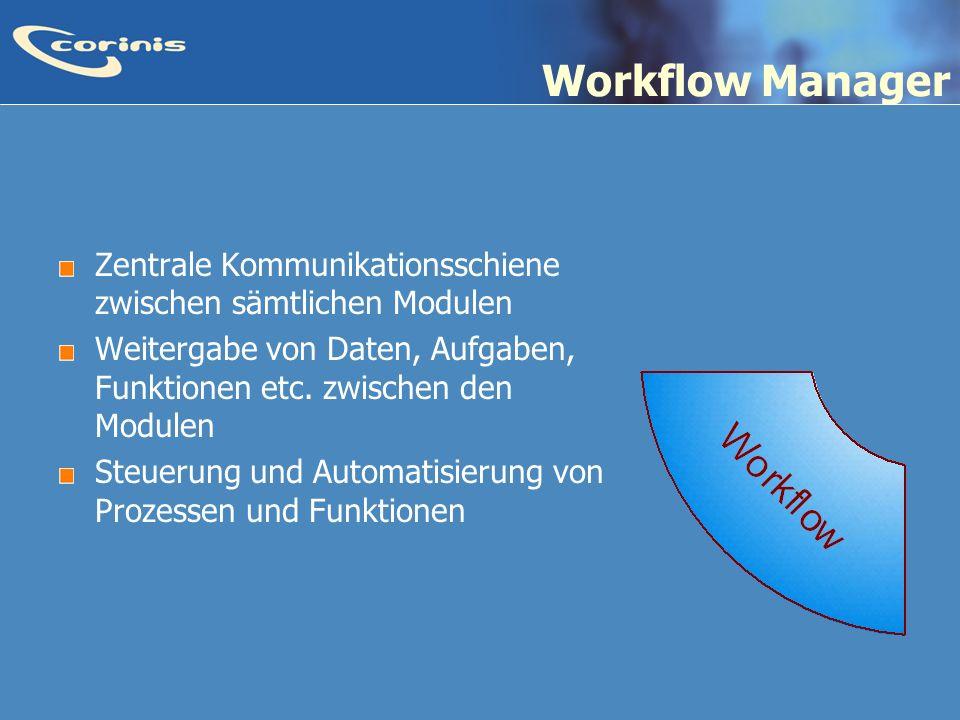 Workflow Manager Zentrale Kommunikationsschiene zwischen sämtlichen Modulen. Weitergabe von Daten, Aufgaben, Funktionen etc. zwischen den Modulen.