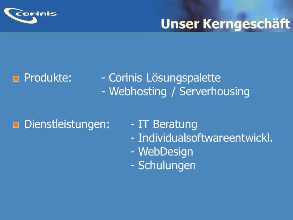 Unser Kerngeschäft Produkte: - Corinis Lösungspalette - Webhosting / Serverhousing.