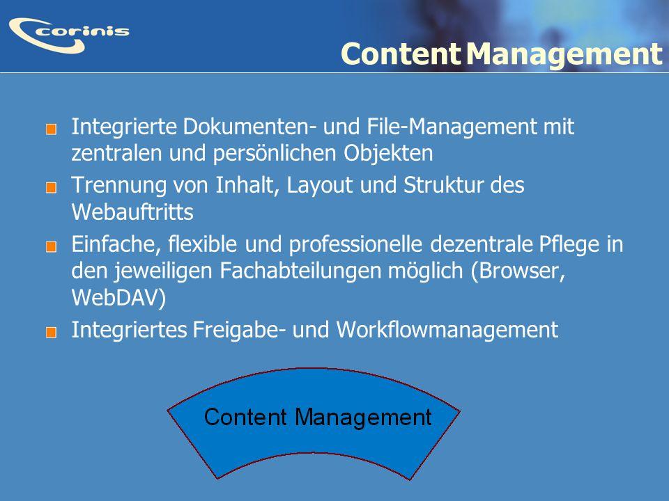 Content Management Integrierte Dokumenten- und File-Management mit zentralen und persönlichen Objekten.