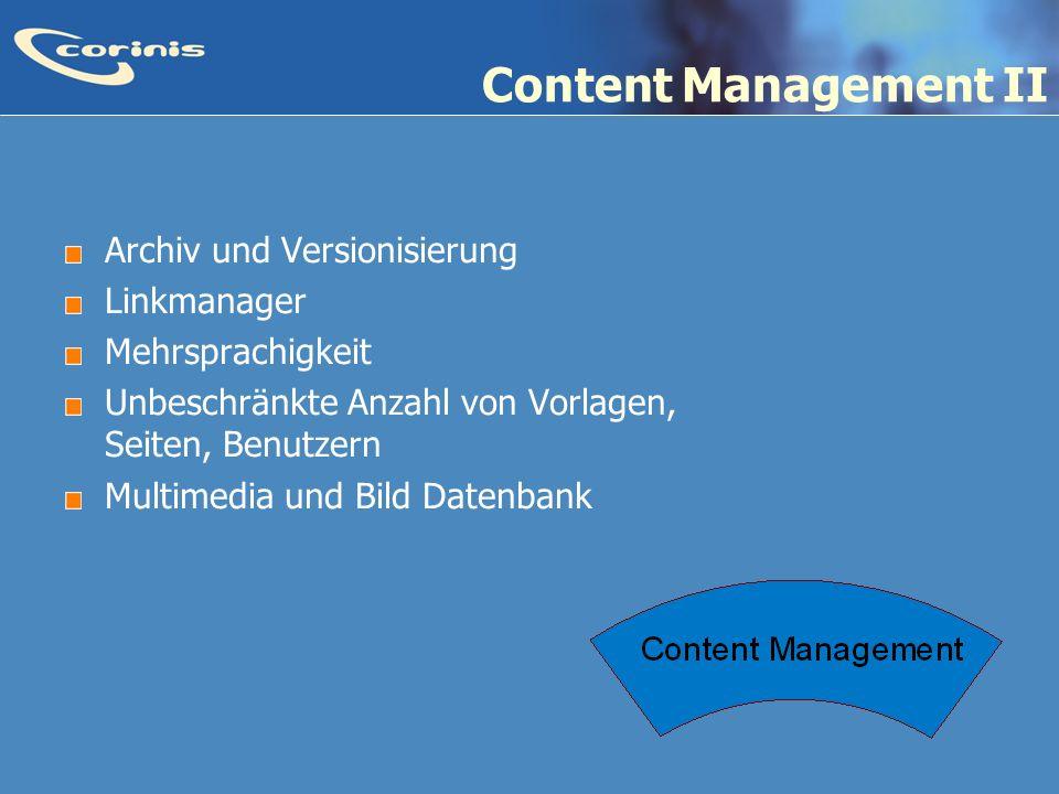 Content Management II Archiv und Versionisierung Linkmanager