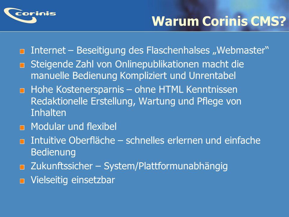 """Warum Corinis CMS Internet – Beseitigung des Flaschenhalses """"Webmaster"""