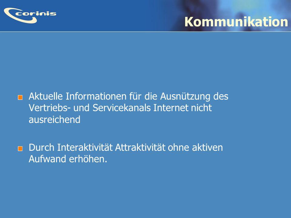 Kommunikation Aktuelle Informationen für die Ausnützung des Vertriebs- und Servicekanals Internet nicht ausreichend.