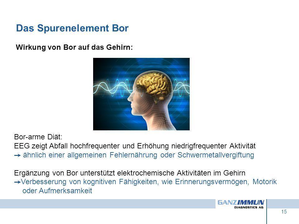 Das Spurenelement Bor Wirkung von Bor auf das Gehirn: Bor-arme Diät: