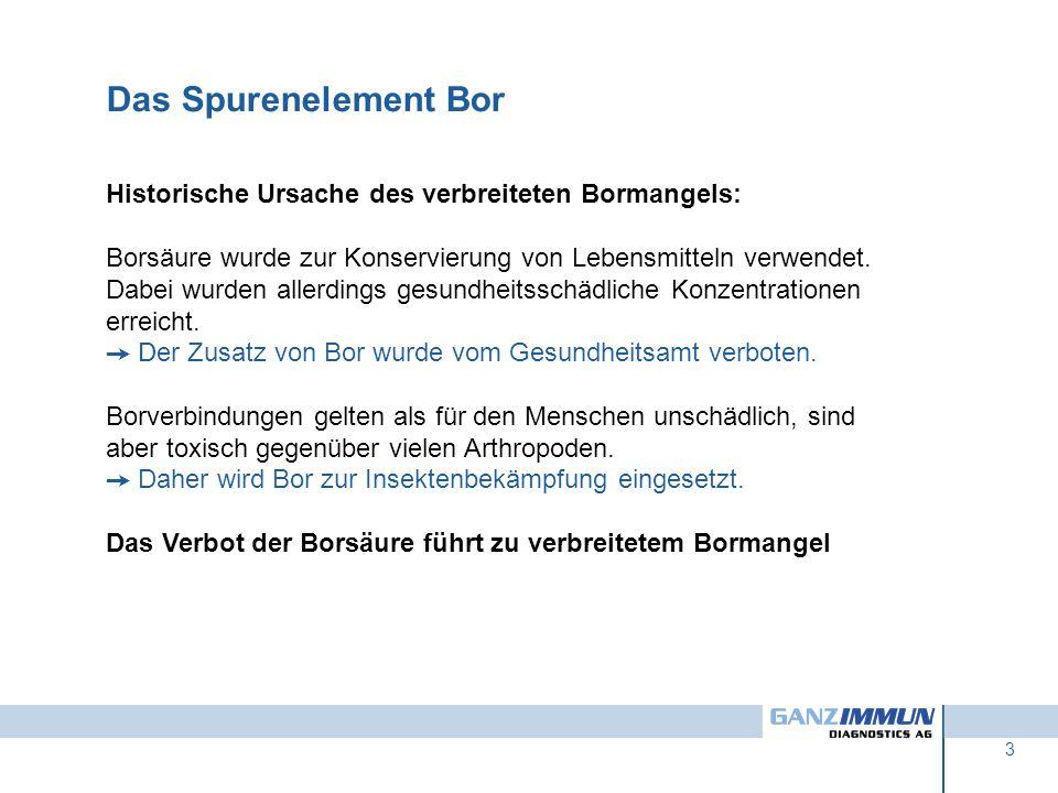 Das Spurenelement Bor Historische Ursache des verbreiteten Bormangels: