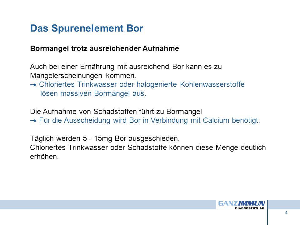 Das Spurenelement Bor Bormangel trotz ausreichender Aufnahme
