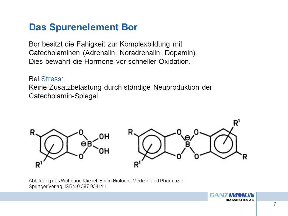 Das Spurenelement Bor Bor besitzt die Fähigkeit zur Komplexbildung mit Catecholaminen (Adrenalin, Noradrenalin, Dopamin).