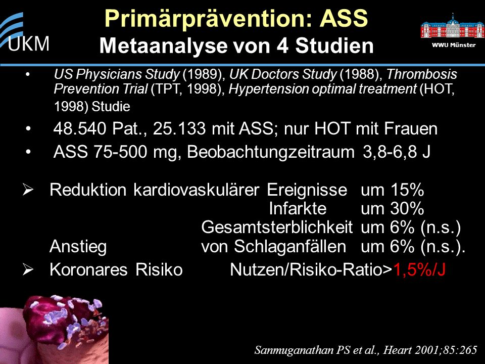 Primärprävention: ASS Metaanalyse von 4 Studien