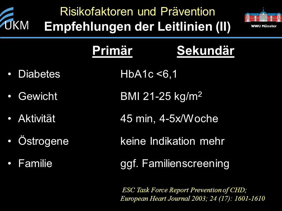 Risikofaktoren und Prävention Empfehlungen der Leitlinien (II)