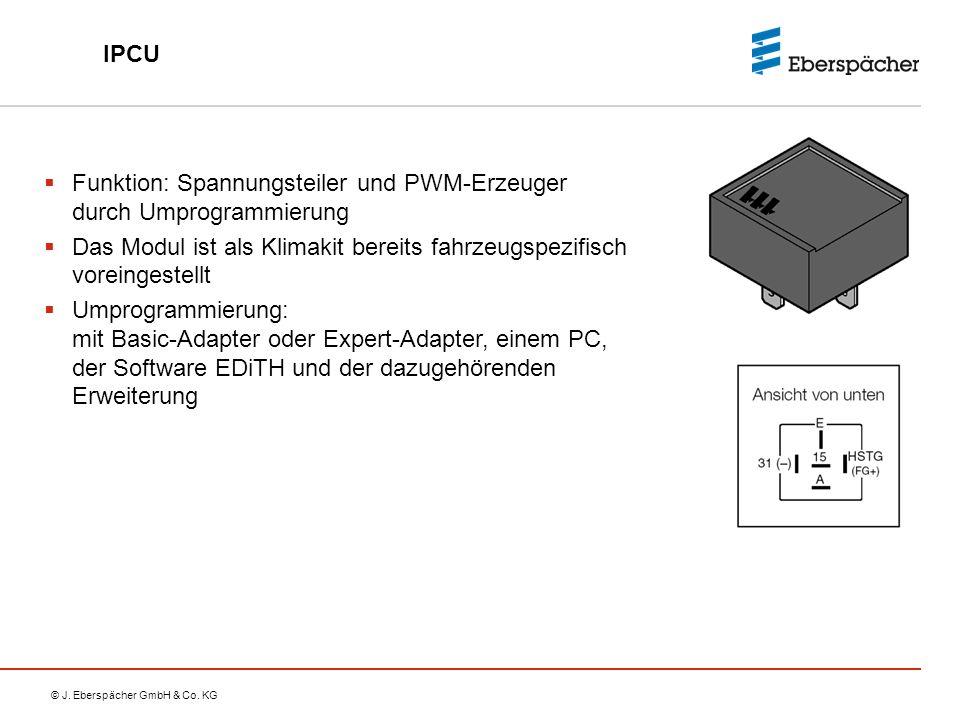 IPCU Funktion: Spannungsteiler und PWM-Erzeuger durch Umprogrammierung. Das Modul ist als Klimakit bereits fahrzeugspezifisch voreingestellt.