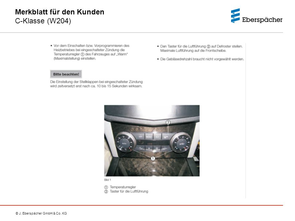Merkblatt für den Kunden C-Klasse (W204)