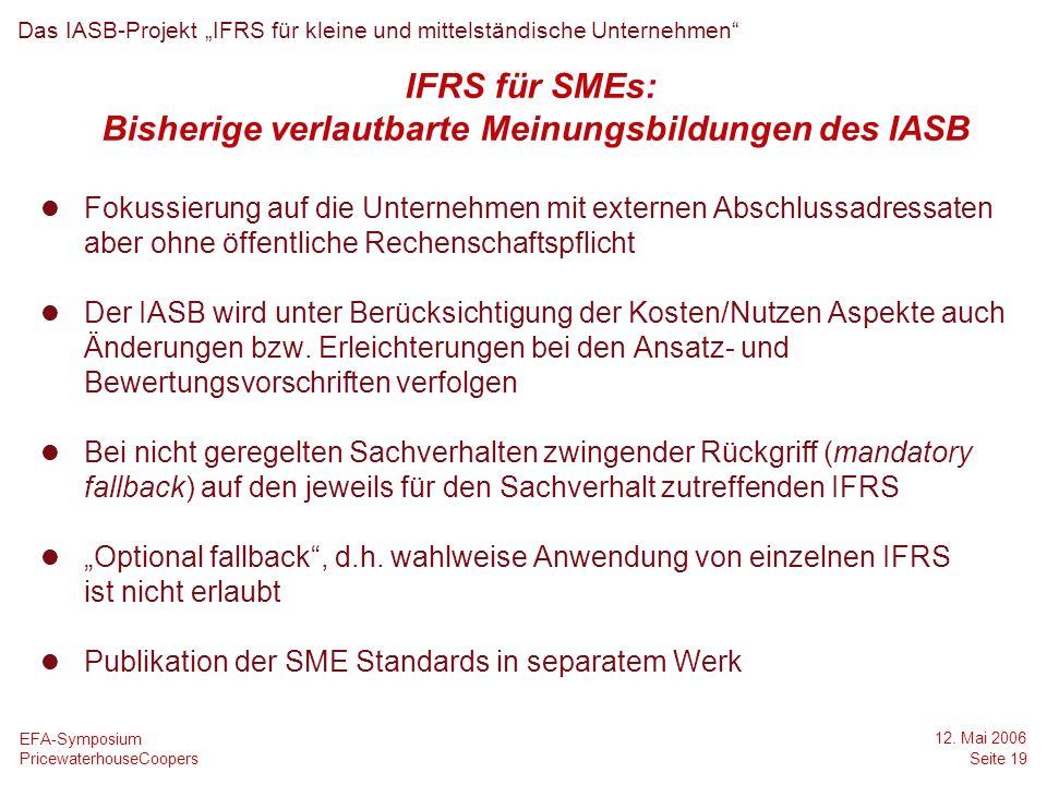 Bisherige verlautbarte Meinungsbildungen des IASB