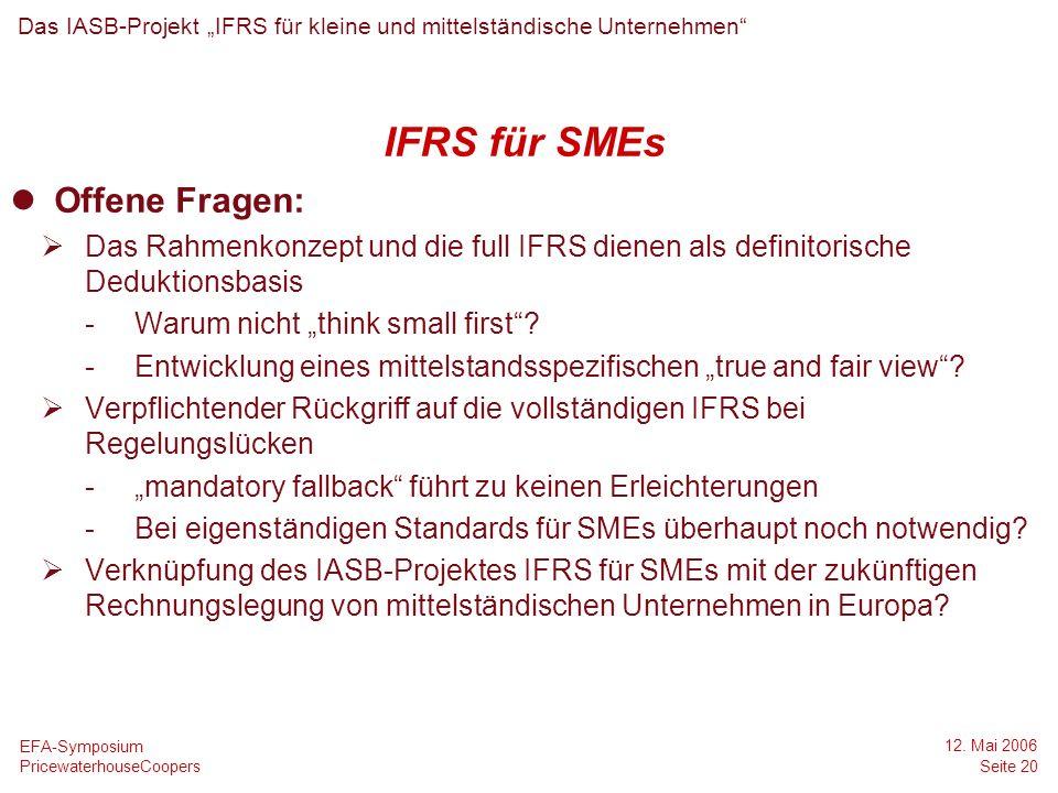 IFRS für SMEs Offene Fragen: