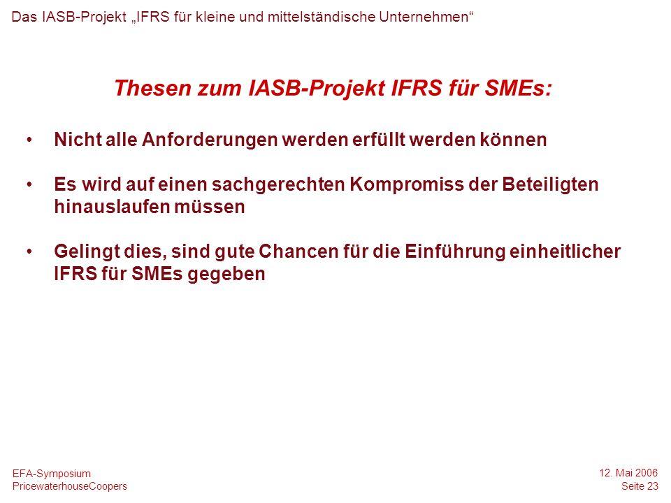 Thesen zum IASB-Projekt IFRS für SMEs:
