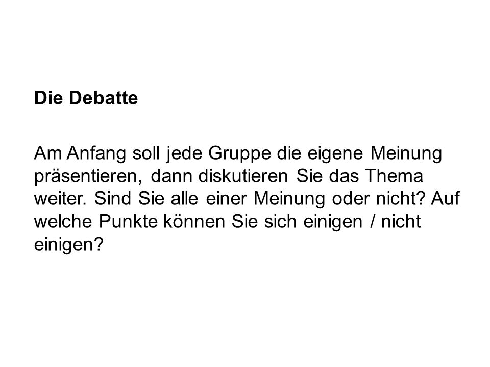 Die Debatte
