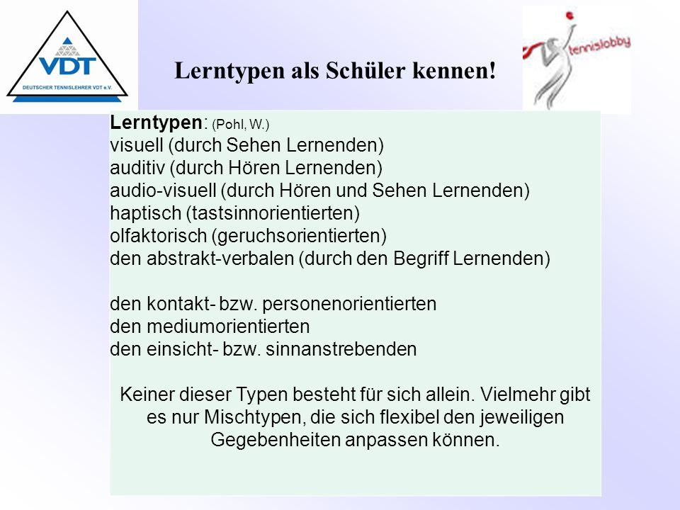 Lerntypen als Schüler kennen!