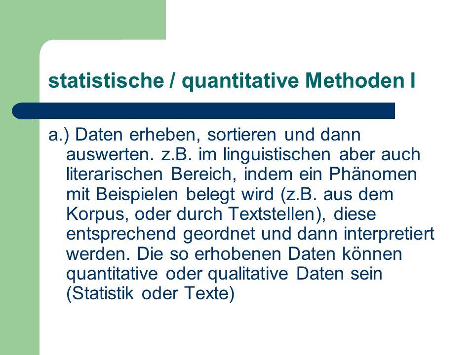 statistische / quantitative Methoden I