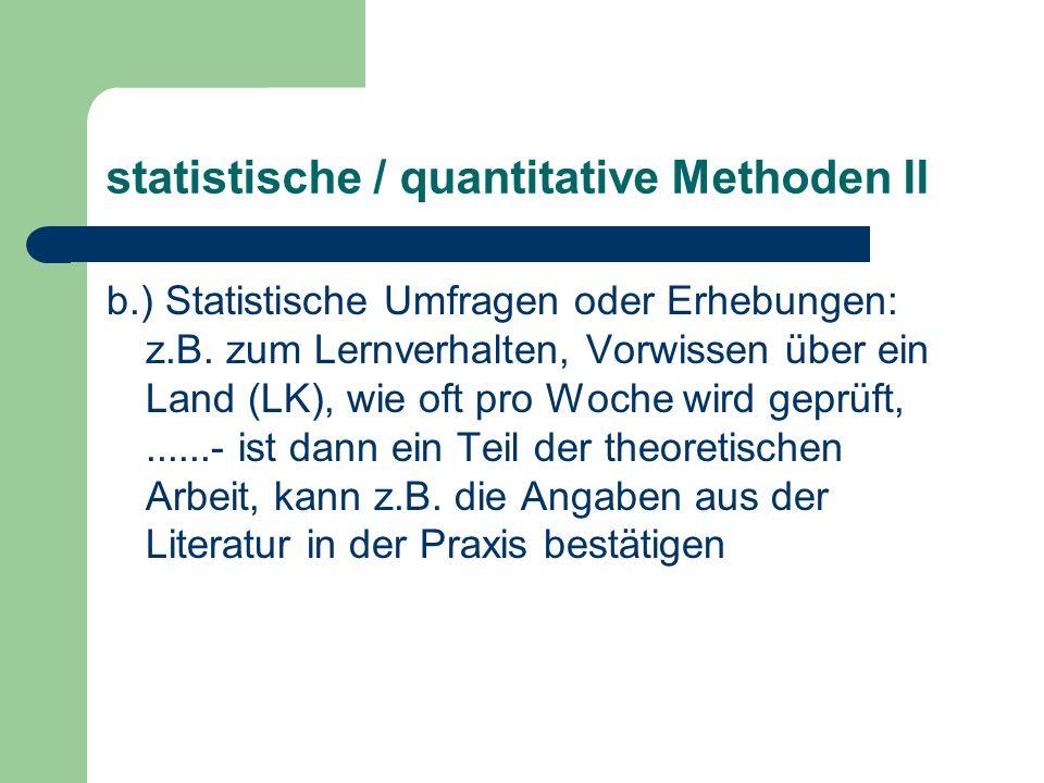 statistische / quantitative Methoden II