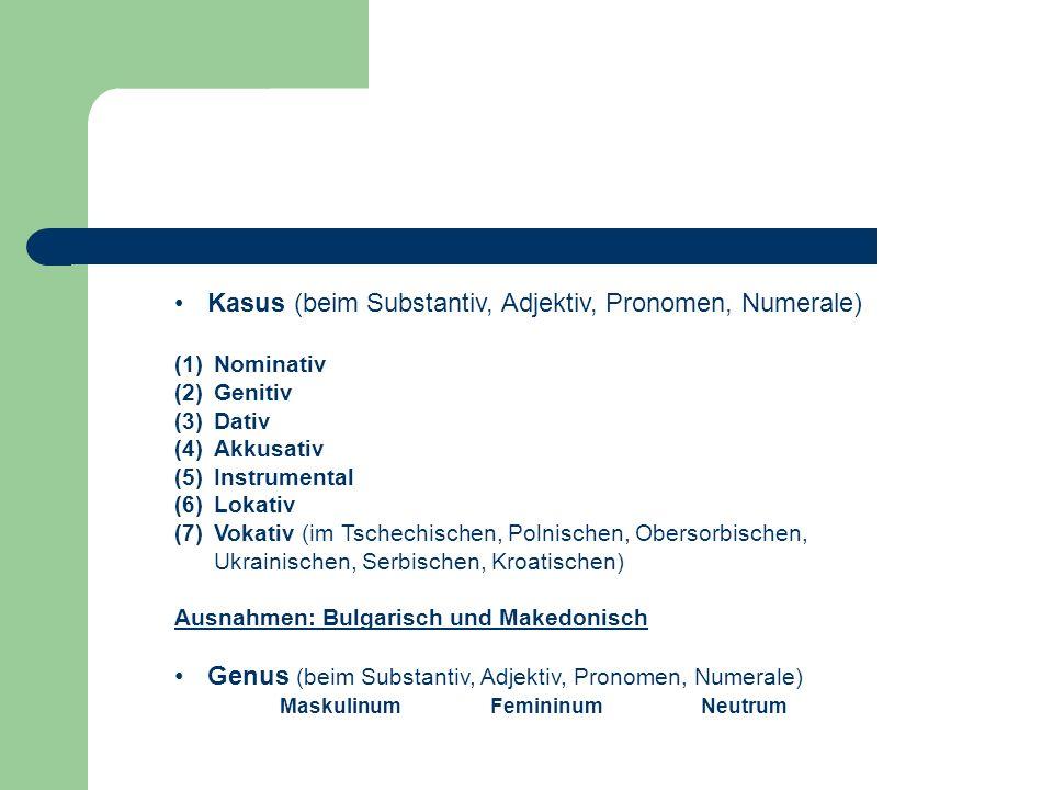 Kasus (beim Substantiv, Adjektiv, Pronomen, Numerale)
