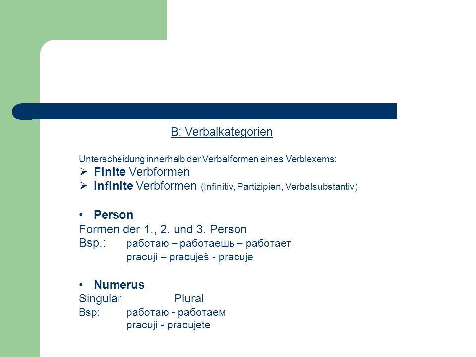 Infinite Verbformen (Infinitiv, Partizipien, Verbalsubstantiv) Person