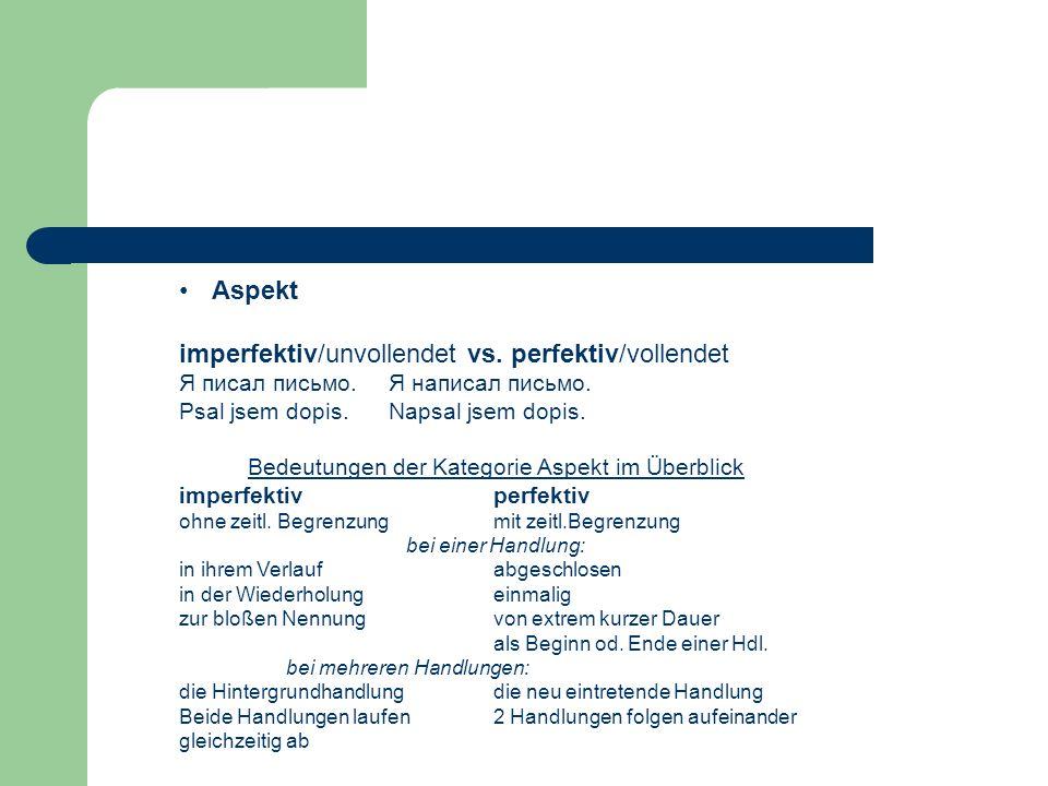 imperfektiv/unvollendet vs. perfektiv/vollendet