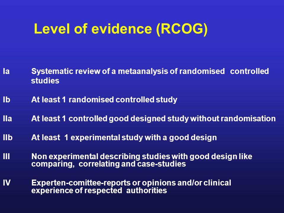 Level of evidence (RCOG)
