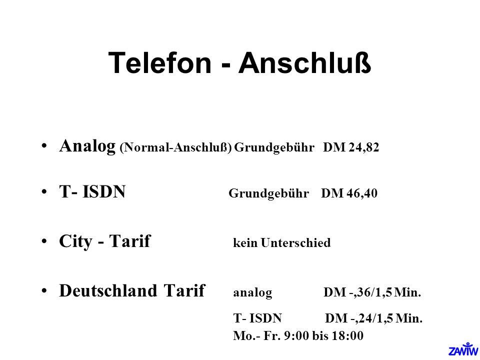 Telefon - Anschluß Analog (Normal-Anschluß) Grundgebühr DM 24,82
