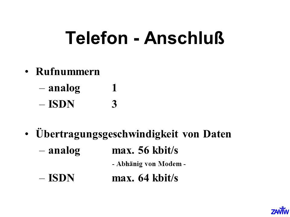 Telefon - Anschluß Rufnummern analog 1 ISDN 3