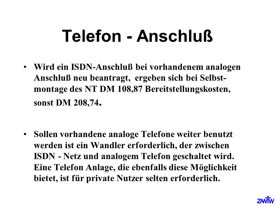 Telefon - Anschluß