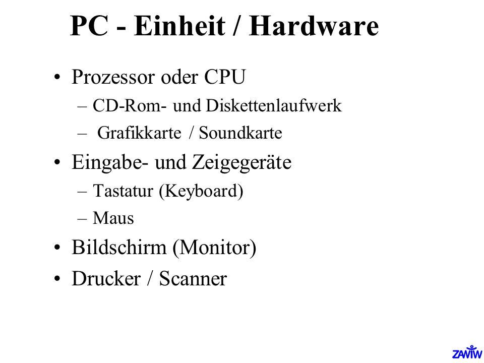 PC - Einheit / Hardware Prozessor oder CPU Eingabe- und Zeigegeräte