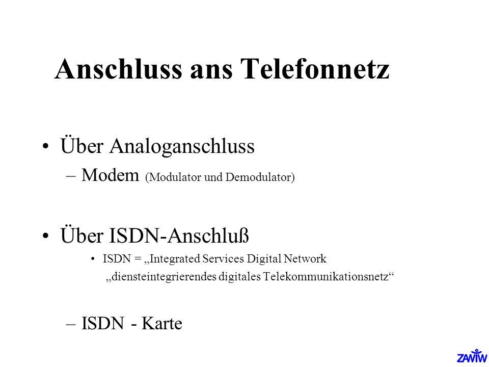 Anschluss ans Telefonnetz