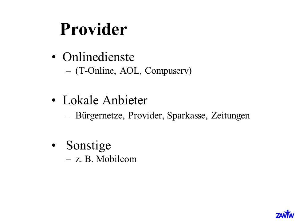 Provider Onlinedienste Lokale Anbieter Sonstige