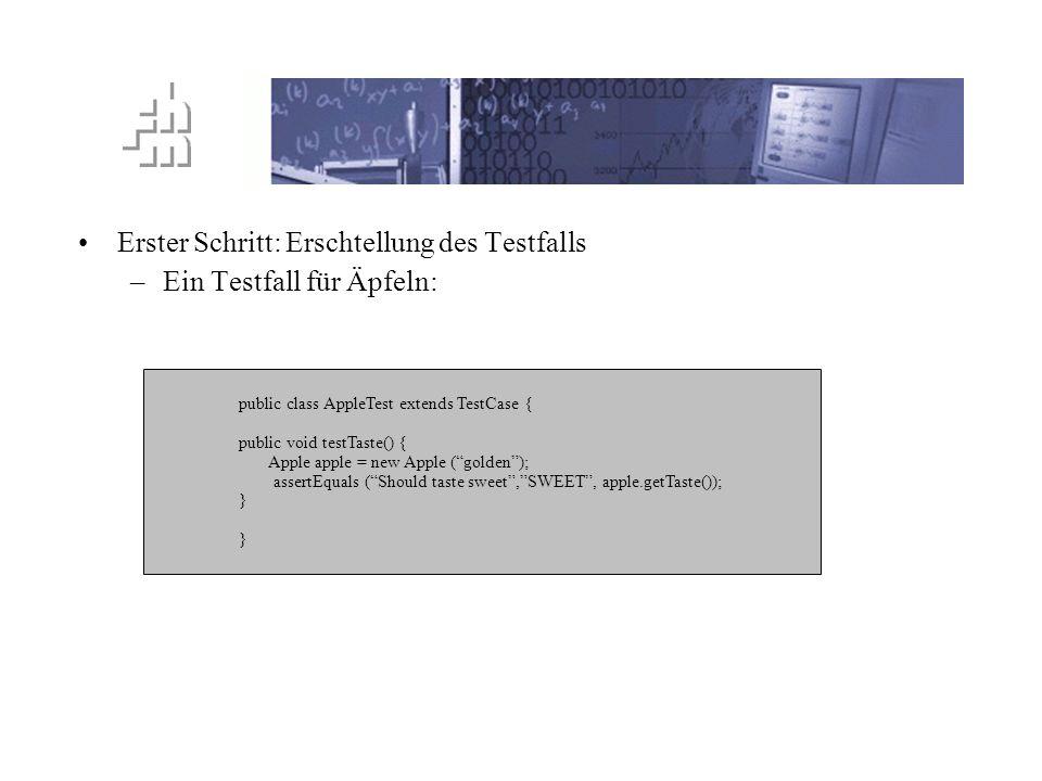 TTD Prinzip Erster Schritt: Erschtellung des Testfalls