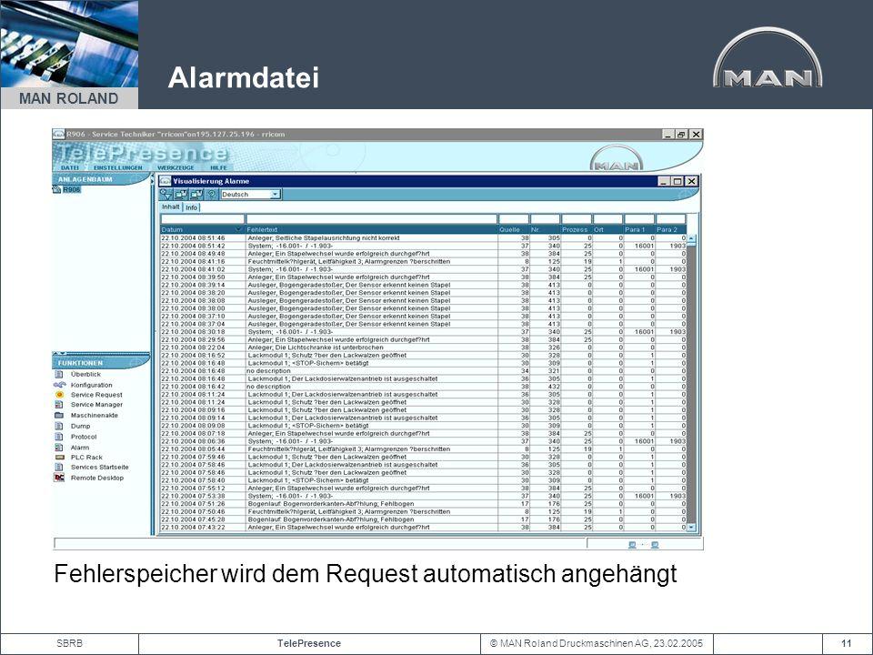 Alarmdatei Fehlerspeicher wird dem Request automatisch angehängt
