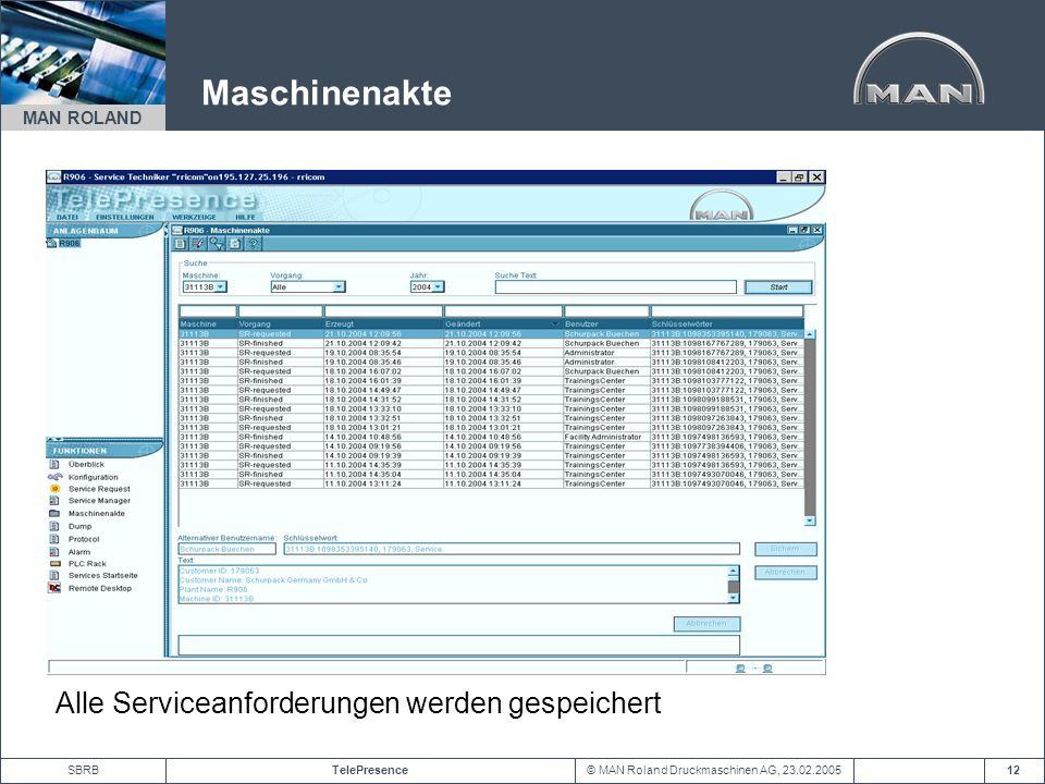 Maschinenakte Alle Serviceanforderungen werden gespeichert