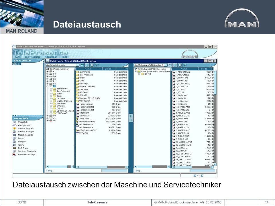 Dateiaustausch Dateiaustausch zwischen der Maschine und Servicetechniker